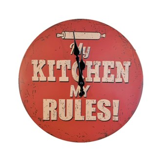 Metal Wall Clock - KITCHEN RULES