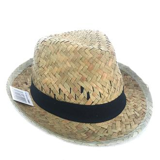 Flax Fedora Hat Hole with black band