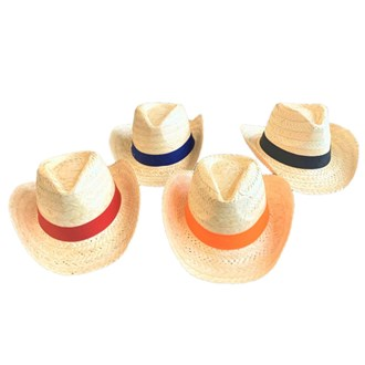 Palmleaf Cowboy hat with coloured band